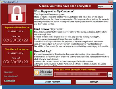 「WannaCry/Wcry」の脅迫画面